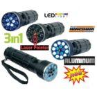 MANNESMANN Action Line 3in1 zseblámpa 16x LED lézerpointer UV pénzvizsgáló bankjegyvizsgáló alumínium