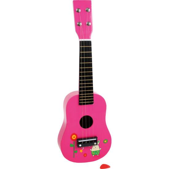 Klasszikus gyerek gitár 4 fém húros hársfa 52cm 3-6 éveseknek pink rózsaszín