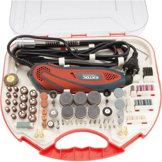 EXTOL Premium mini fúrógép + 210db-os készlet fúró köszörű csiszoló polírozó gravírozó 8892201