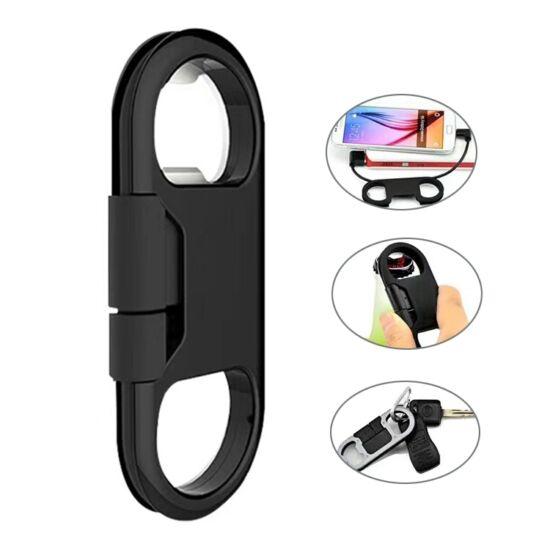 Adatkábel 20 cm-es (Apple 8 pin), palacknyitó és kulcstartó (fekete)
