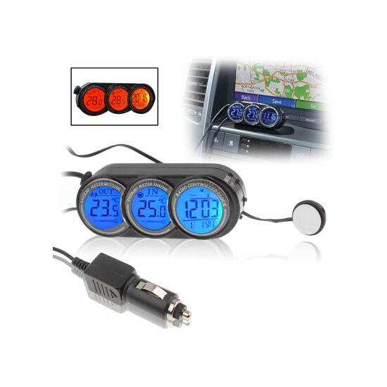 Autós külső-belső hőmérő + óra LCD kijelzővel 12/24V