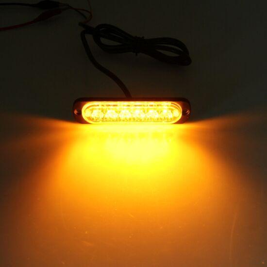 Autós villogó lámpa sárga DC 12-24V 3W 6 db LED SMD-2835