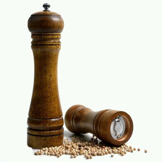 Borsmalom, klasszikus só és borsőrlő fából 25 cm