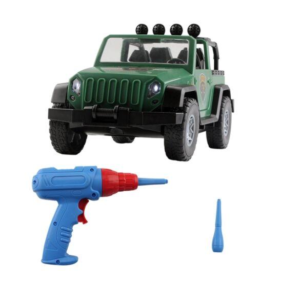 DIY Jeep összeszerelhető játékautó, elektromos csavarozóval gyerekek számára