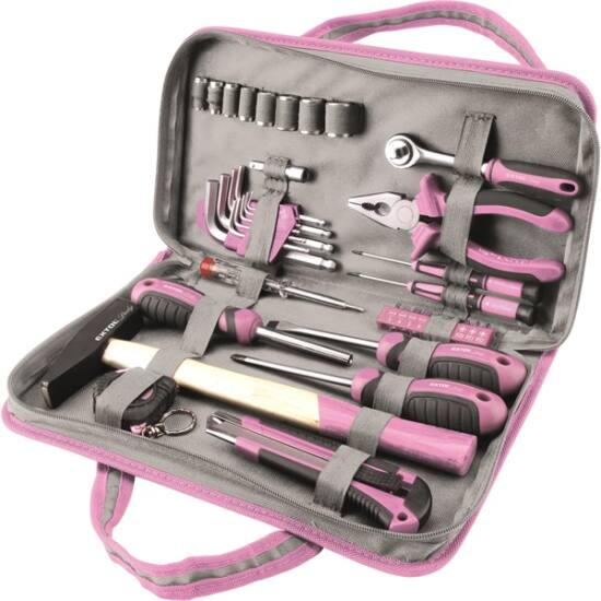 """Szerszámkészlet 39 db 1/4""""  Extol Lady rózsaszín 8 dugófej (5-14mm), fogó, csavarhúzók, kalapács, BIT-ek - (6596)"""
