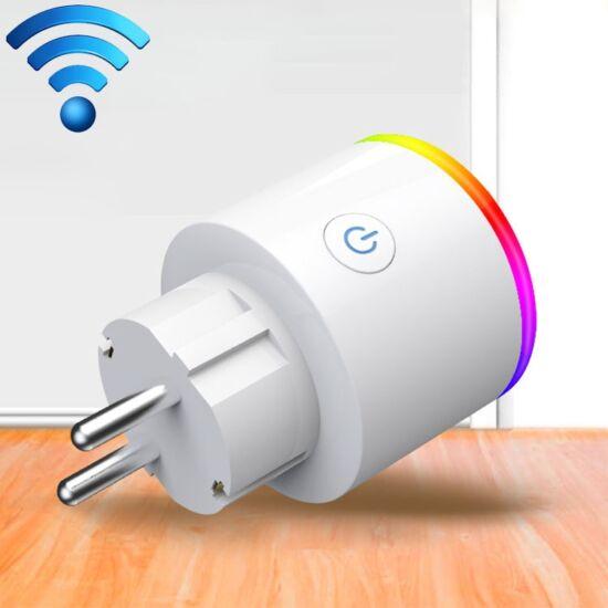 Fali csatlakozó adapter, WiFi vezérlésű, RGB LED fénnyel, 15A, AC 100-250V