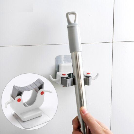 Falra szerelhető seprűtartó konyhai akasztó 3 db-os (fehér)