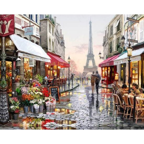 DIY Kreatív festőkészlet számok alapján 40x50 cm Párizs