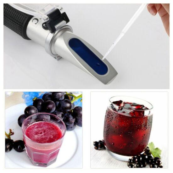 Kézi refraktométer alkohol (0-25%) és cukor (0-40%) mérésére