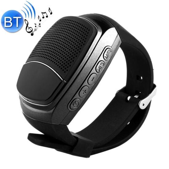 Karóra formájú Bluetooth hangszóró, kihangosító és FM rádió, fekete