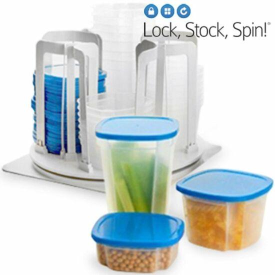 Lock Stock Spin műanyag edény készlet (49 db) praktikus tárolóval