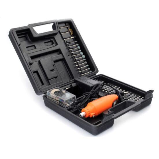 Mini gravírozó, fúró és csiszoló gép, tartozékokkal, kofferben, 12V/12000 fordulat