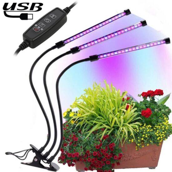 Növény nevelő LED lámpa 18W 3 fejű, hajlítható, csíptethető DC 5V