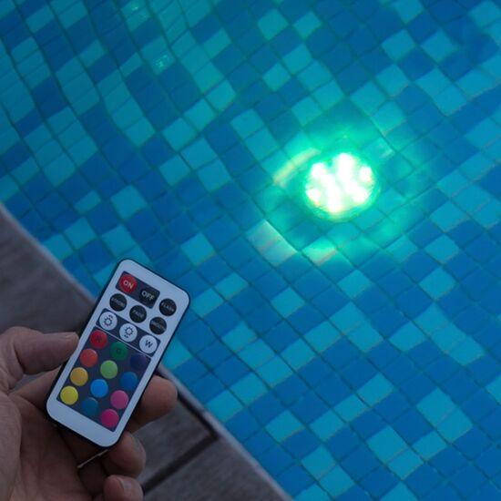 RGB LED lámpa (10 LED), vízálló, távvezérlővel