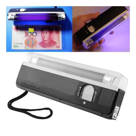 Elemes pénzvizsgáló kézi UV lámpa 4W bankjegyvizsgáló + zseblámpa