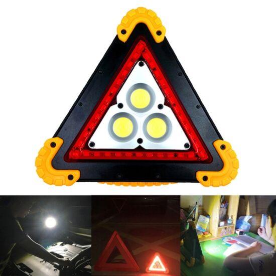 Többfunkciós elakadásjelző háromszög LED fénnyel, újratölthető