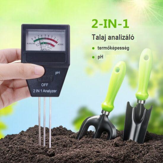 Talaj pH mérő és termőképesség mérő kertészeti eszköz 3 szondával
