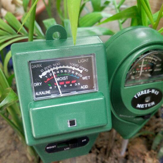 Talaj pH, nedvesség és fénymérő 3 az 1-ben