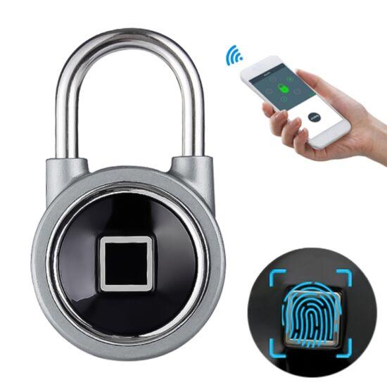 Ujjlenyomattal nyitható lakat Bluetooth-os, USB tölthető