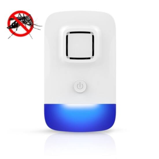 Ultrahangos elektromos egérriasztó, szúnyogriasztó, légyriasztó (kék éjszakai fény)