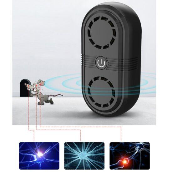 Ultrahangos elektronikus egérriasztó, rágcsálóriasztó, szúnyogriasztó, rovarriasztó beltéri (150 m2), kettős hangszóróval (BG307), fekete