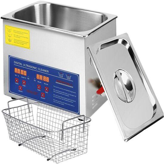 Ultrahangos mosó, tisztító, ELASON 6 liter, rozsdamentes tartály
