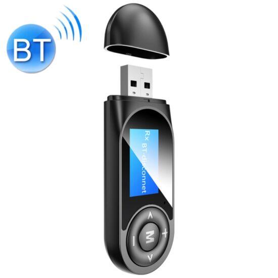 Vezeték nélküli Bluetooth 5.0 audio adó-vevő (transmitter & receiver) kijelzővel (T13)