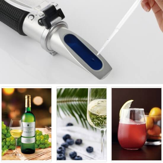 Refraktométer hordozható, alkohol 0-32%, Brix 0-26% (bor, gyümölcslé)